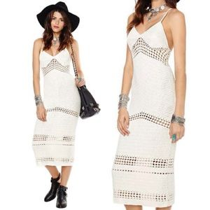Beautiful Crochet White Midi Dress